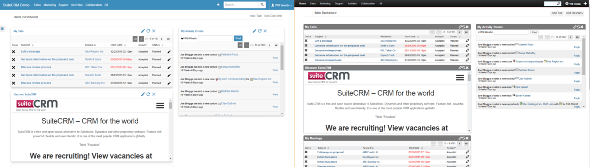 "Default skins available in SuiteCRM: ""Suite R"" (left) and very similar to commercial edition of SugarCRM: ""Suite 7"" (right)."