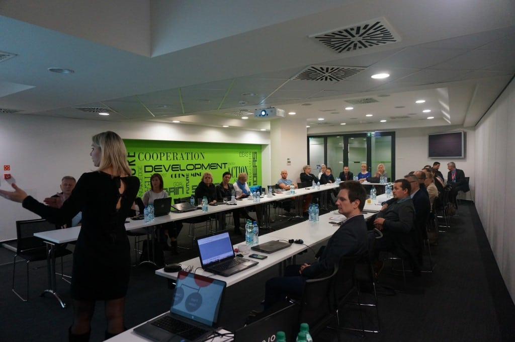 Alena Lukashova during her speech about user adoption challenge.