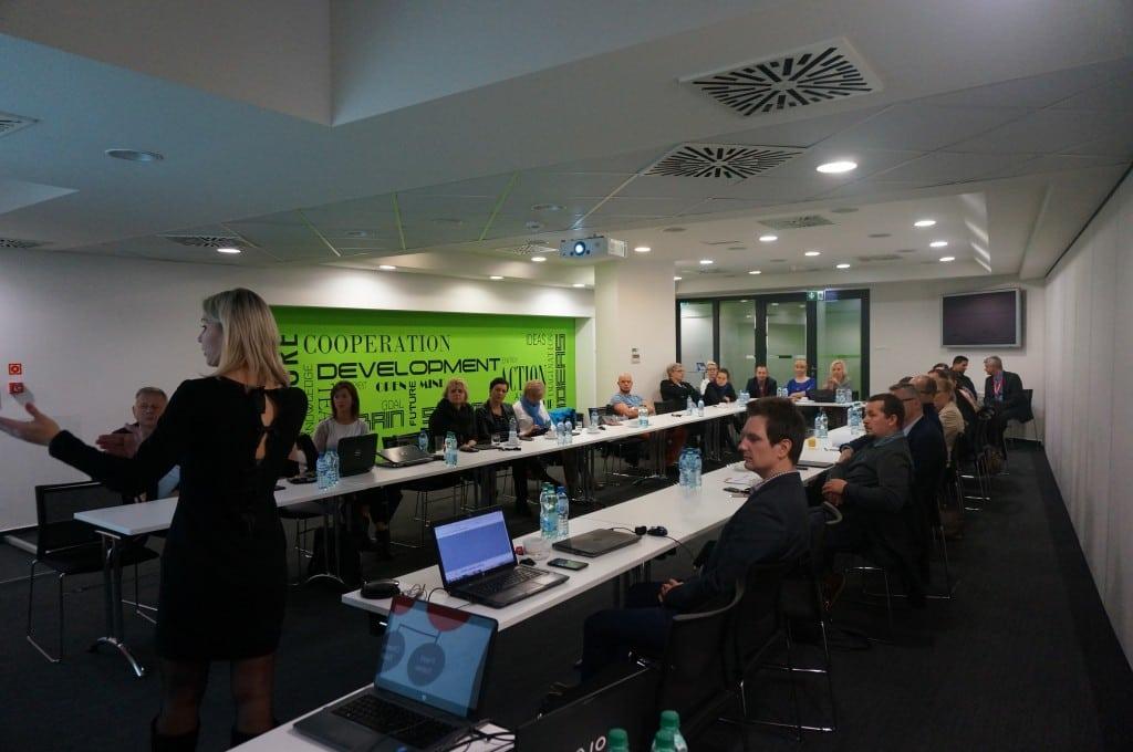 Alena Lukashova during her speech about user adoption challenge.