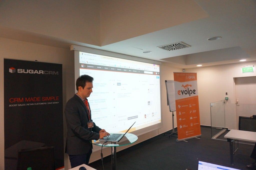 Piotr Rawski (eVolpe) presenting the Advanced Workflow module in Sugar.