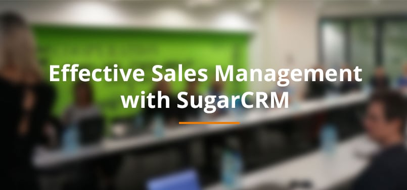 """Łukasz Taranta during the presentation on the """"Effective Sales Management with SugarCRM"""" conference."""